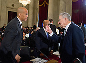 United States Senator Cory Booker (Democrat of New Jersey), left, is welcomed by US Senator Chuck Grassley (Republican of Iowa), Chairman, United States Senate Judiciary Committee, right, prior to testifying on a panel on the nomination of US Senator Jeff Sessions (Republican of Alabama) to be Attorney General of the United States on Capitol Hill in Washington, DC on Wednesday, January 11, 2017.  Senator Booker became the first sitting senator in US history to testify against a fellow sitting senator at a cabinet confirmation hearing.<br /> Credit: Ron Sachs / CNP