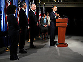 Chicago, IL - December 15, 2008 -- United States President-elect Barack Obama (R) speaks during a news conference with Vice President-elect Joe Biden introducing Nobel physics laureate Steven Chu (2nd from Left) as energy secretary and Lisa Jackson, (3nd from right) to run the Environmental Protection Agency (EPA), during a news conference in Chicago, Illinois on Monday, December 15, 2008. Obama also named former EPA chief Carol Browner (2nd from right) to head a new council to coordinate White House energy, climate and environment policies, and Nancy Sutley (L), a deputy mayor of Los Angeles, as head of the White House Council on environmental quality December 15, 2008. .Credit: Jeff Haynes / CNP