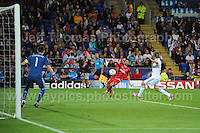 Cardiff City Stadium, Cardiff, South Wales - Tuesday 12th Aug 2014 - UEFA Super Cup Final - Real Madrid v Sevilla - <br /> <br /> Sevilla&rsquo;s Coke attempts to cross the ball to the centre during the game. <br /> <br /> <br /> <br /> <br /> Photo by Jeff Thomas/Jeff Thomas Photography