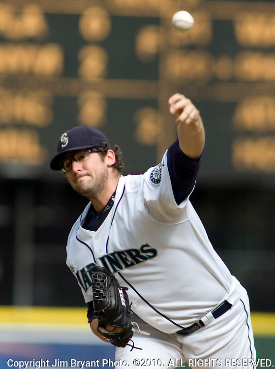 Seattle Mariners starter Ryan Rowland-Smith delivers against the Oakland Athletics in the first inning of a baseball game in Seattle on Saturday, Sept. 27, 2008. Jim Bryant Photo. ©2010. ALL RIGHTS RESERVED.