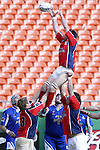 30 April 2005: Philadelphia Lock (unidentified player) plays the ball in a lineout. The Kansas City Blues defeated the Philadelphia Whitemarsh RFC 41-14 at the Arrowhead Stadium in Kansas City, Missouri in a Rugby Super League regular season game. .