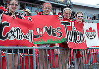 02 June 2013: The Canadian Women's National Team fans show their support during an International Friendly soccer match between the U.S. Women's National Soccer Team and the Canadian Women's National Soccer Team at BMO Field in Toronto, Ontario.<br /> The U.S. Women's National Team Won 3-0.