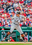 3 April 2017: Miami Marlins first baseman Justin Bour in action against the Washington Nationals on Opening Day at Nationals Park in Washington, DC. The Nationals defeated the Marlins 4-2 to open the 2017 MLB Season. Mandatory Credit: Ed Wolfstein Photo *** RAW (NEF) Image File Available ***