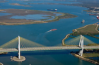 Afternoon aerial view of the Fred Hartman Bridge