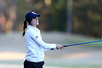 BROWNS SUMMIT, NC - APRIL 01: Notre Dame's Jordan Ferreira tees off on the 9th hole. The first round of the Bryan National Collegiate Women's Golf Tournament was held on April 1, 2017, at the Bryan Park Champions Course in Browns Summit, NC.
