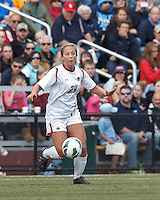 Boston College forward Rachel Davitt (24) on the attack.   University of North Carolina (blue) defeated Boston College (white), 1-0, at Newton Campus Field, on October 13, 2013.