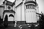 Swiebodzin 15.10.2008 Poland<br /> Small sculptures near the church of Divine Mercy, which belongs to the originator and founder of the statue of Christ the King, Father Sylvester Zawadzki.The assembly of a gigantic monument of Christ the King has just begun on the outskirts of Swiebodzin, Poland. Situated on the small hill several miles east of the German-Polish border, the statue is erected not only as a fruit of faith of the local people but also as a towering symbol of welcome to Catholic Poland, perfectly seen from both A-2 Highway and S3 Fastway. Almost 100-foot-tall statue of Christ the King will be 4 feet higher than a famous statue of Christ the Redeemer, which is overlooking Rio de Janeiro. It was designed by local priest Sylvester Zawadzki.<br /> (Photo Adam Lach / Napo Images for Newsweek Polska)<br /> <br /> Male rzezby przed kosciolem Milosierdzia Bozego, ktory nalezy do pomyslodawcy i fundatora statuy Chrystusa Krola, ksi?dza Sylwestra Zawadzkiego..W malej miejscowosci Swiebodzinie powstaje najwieksza na swiecie rzezba Jezusa Chystusa. Autorstwa lokalnego ksiedza Sylwestra Zawadzkiego. Statua ma miec 33 metry, tym samym bedzie wyzsza od figury z Rio de Janeiro o 1 metr. Sama korona ma miec 3 metry.<br /> (Fot Adam Lach / Napo Images dla Newsweek Polska)