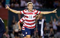 PORTLAND, Ore. - July 9, 2013: Stuart Holden reacts after scoring a goal in the second half. The US Men's National team plays the National team of Belize during the 2013 Gold Cup at at JELD-WEN Field.