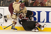 Kevin Hayes (BC - 12), Colton Saucerman (NU - 23) - The Boston College Eagles defeated the Northeastern University Huskies 6-3 on Monday, February 11, 2013, at TD Garden in Boston, Massachusetts.
