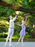 Likolani Brown and Russell Janzen from Tom Gold Dance in the summer garden at the Rockefeller Estate, Kykuit, in Pocantico Hills.