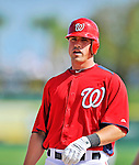 12 March 2012: Washington Nationals infielder Tyler Moore stands at first after hitting a single in the bottom of the 8th inning during a Spring Training game against the St. Louis Cardinals at Space Coast Stadium in Viera, Florida. The Nationals defeated the Cardinals 8-4 in Grapefruit League play. Mandatory Credit: Ed Wolfstein Photo