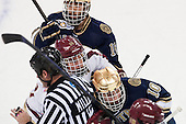Mike Voran (ND - 16), Chris Millea, Bill Arnold (BC - 24), David Gerths (ND - 10) - The visiting University of Notre Dame Fighting Irish defeated the Boston College Eagles 7-2 on Friday, March 14, 2014, in the first game of their Hockey East quarterfinals matchup at Kelley Rink in Conte Forum in Chestnut Hill, Massachusetts.