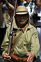 August 15, 2011, Tokyo, Japan - A man wearing a Japanese WW2 military uniform marches out of the main shrine during commemorations marking the end of WW2. (Photo by Bruce Meyer-Kenny/AFLO) [3692]