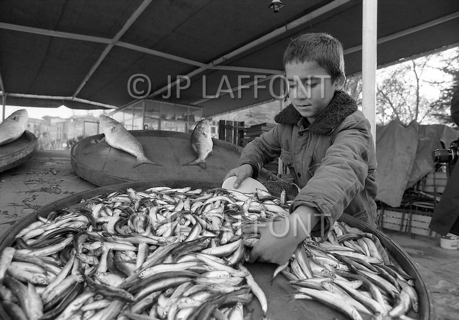 Child employed to sell fish in Istanbul, Turkey - Child labor as seen around the world between 1979 and 1980 – Photographer Jean Pierre Laffont, touched by the suffering of child workers, chronicled their plight in 12 countries over the course of one year.  Laffont was awarded The World Press Award and Madeline Ross Award among many others for his work.