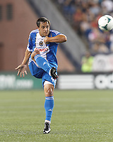 Philadelphia Union midfielder Daniel Cruz (44) clears the ball.  In a Major League Soccer (MLS) match, the New England Revolution (dark blue) defeated Philadelphia Union (light blue), 5-1, at Gillette Stadium on August 25, 2013.
