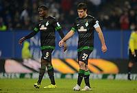 FUSSBALL   1. BUNDESLIGA   SAISON 2012/2013    19. SPIELTAG Hamburger SV - SV Werder Bremen                          27.01.2013 Assani Lukimya und Sokratis Papastathopoulos (v.l., beide SV Werder Bremen) sind enttaeuscht