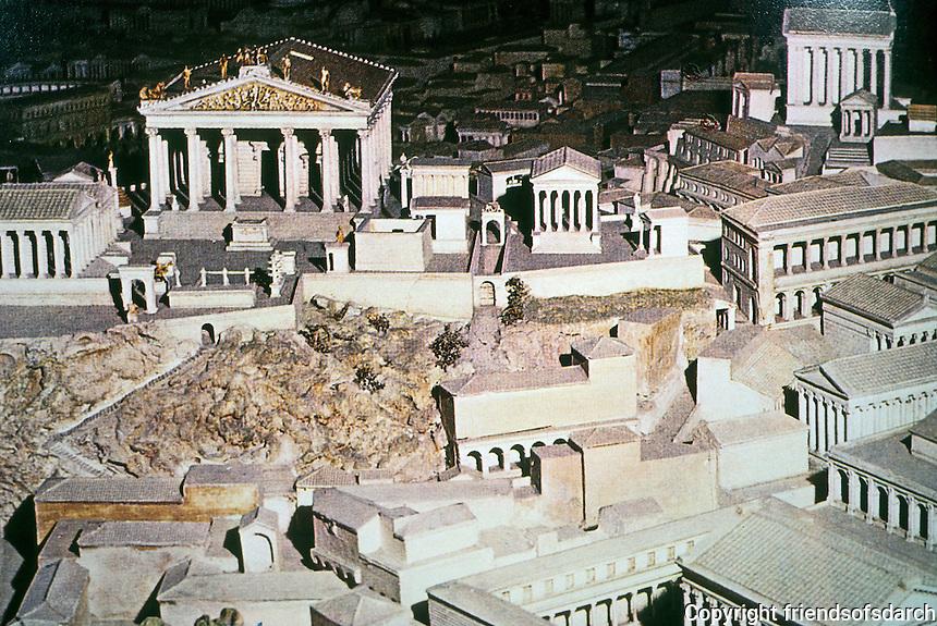 Italy: Rome--Model of the Campidoglio, facing the Roman Forum. To left, Temple of Jupiter, Optimus Maximus, Domitian, 82 A.D.