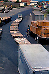 Fork lift truck pulling pallets in busy port and harbour of La Guaira, Caracas, Venezuela, Caribbean.