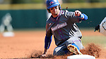 CARY, NC - MARCH 04: UMass Lowell's Chris Sharpe slides into third base. The University of Massachusetts Lowell River Hawks played the University of Notre Dame Fighting Irish on March 4, 2017, at USA Baseball NTC Stadium Field in Cary, NC in a Division I College Baseball game, and part of the Irish Classic tournament. UMass Lowell won the game 8-0.