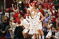19 March 2007: Rosalyn Gold-Onwude, Christy Titchenal, Morgan Clyburn, Markisha Coleman, Clare Bodensteiner, Michelle Harrison, Jayne Appel and Melanie Murphy during Stanford's 68-61 second round loss to Florida State in the 2007 NCAA Division I Women's Basketball Championships at Maples Pavilion in Stanford, CA.