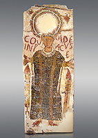 5th century Eastern Roman Byzantine  funerary mosaic from Tarbaka in the Roman province of Africa Proconsularis , present day Tunisia, with a crown at the top probably a Christogram  (Latin Monogramma Christi ) is a monogram used as an abbreviation for the name of Jesus Christ, with a figure below and a latin text for the deceased &quot; Covuldeus in peace&quot;. Either side of the figure are a lit candle which symbolises eternal faith. The Bardo National Museum, Tunis Tunisia.   Against a grey background.<br />