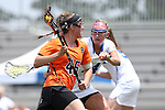 16 May 2015: Princeton's Anya Gersoff (45) and Duke's Taylor Trimble (14). The Duke University Blue Devils hosted the Princeton University Tigers at Koskinen Stadium in Durham, North Carolina in a 2015 NCAA Division I Women's Lacrosse Tournament quarterfinal match. Duke won the game 7-3.