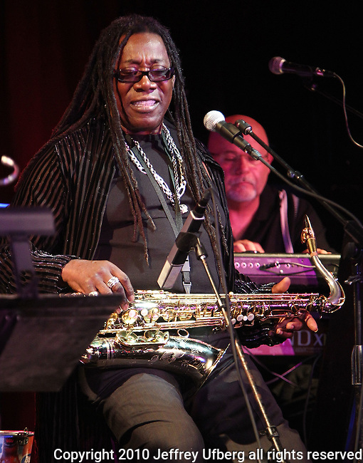 "August 4, 2010 New York: Musician Clarence Clemons performs ""BB King's Blues Club"" on August 4, 2010 in New York City."