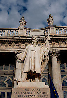 A defiant monument to the Sardinian troops, erected by Milanese exiles during the triumphant visit to Milan of Austrian Emperor Franz Joseph, before the Palazzo Madama palace in Turin (Italy, 18/06/2010)
