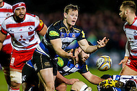 Chris Cook of Bath Rugby passes the ball. Aviva Premiership match, between Bath Rugby and Gloucester Rugby on February 5, 2016 at the Recreation Ground in Bath, England. Photo by: Rogan Thomson / JMP for Onside Images