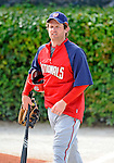 12 March 2008: Washington Nationals' right fielder Austin Kearns takes to the field prior to a Spring Training game against the Los Angeles Dodgers at Holman Stadium, in Vero Beach, Florida. The Nationals defeated the Dodgers 10-4 at the historic Dodgertown ballpark. 2008 marks the final season of Spring Training at Dodgertown for the Dodgers, as the team will move to new training facilities in Arizona starting in 2009 after 60 years in Florida...Mandatory Photo Credit: Ed Wolfstein Photo