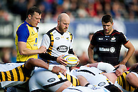 Joe Simpson of Wasps looks to put the ball into a scrum. Aviva Premiership match, between Saracens and Wasps on October 9, 2016 at Allianz Park in London, England. Photo by: Patrick Khachfe / JMP