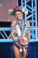 "ULYANA TROFIMOVA of Uzbekistan celebrates winning bronze in ball Event Final at 2011 World Cup Kiev, ""Deriugina Cup"" in Kiev, Ukraine on May 8, 2011."