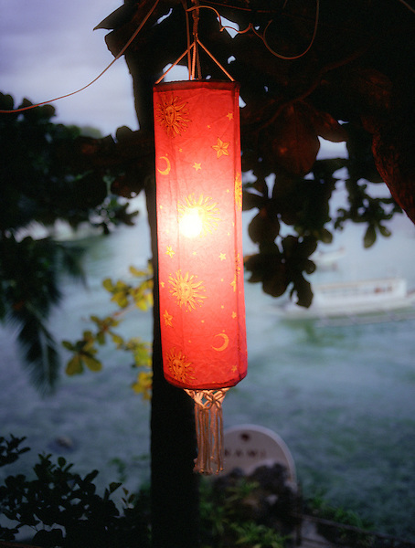 BORACAY ISLAND, PHILIPPINES - A red asian lantern at  Nami Boracay Resort.  Boracay Island, Philippines, South East Asia.