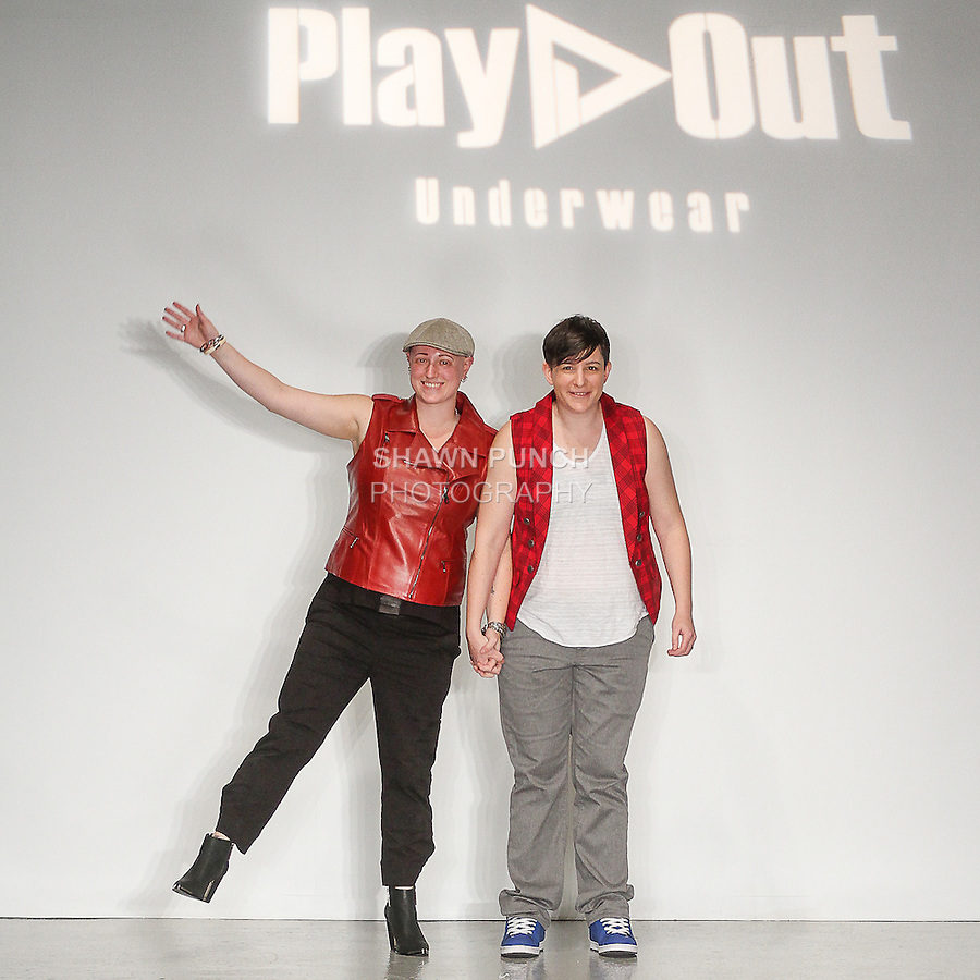 Designers Sylvie Lardeux and Abby Sugar thank audience for attending their Play Out Underwear Spring Summer 2015 collection fashion show, during LingerieFW Spring Summer 2015.