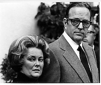 Randolph Apperson Hearst &quot;Randy&quot; and wife Catherine <br /> Wood Hearst face the media following the kidnapping of daughter Patty in 1974. (photo by Ron Riesterer)