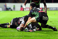 Semesa Rokoduguni of Bath Rugby scores a try in the first half. European Rugby Challenge Cup match, between Pau (Section Paloise) and Bath Rugby on October 15, 2016 at the Stade du Hameau in Pau, France. Photo by: Patrick Khachfe / Onside Images