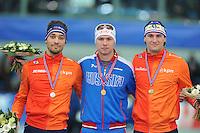 SPEED SKATING: STAVANGER: Sørmarka Arena, 31-01-2016, ISU World Cup, Podium 1000m Men Division A, Kjeld Nuis (NED), Pavel Kulizhnikov (RUS), Thomas Krol (NED), ©photo Martin de Jong