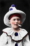 Vintage Photo: Boy dressed as a Smoking clown, circa 1900.