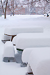 Freshly fallen snow covers tables on the University of Montana campus in Missoula, Montana