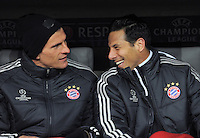 FUSSBALL  CHAMPIONS LEAGUE  ACHTELFINALE  HINSPIEL  2012/2013      FC Bayern Muenchen - FC Arsenal London     13.03.2013 Mario Gomez (li) und Claudio Pizarro (re, beide FC Bayern Muenchen) auf der Ersatzbank