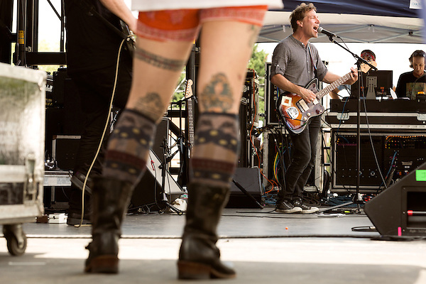 July 26, 2014. Carrboro, North Carolina.<br /> John Schmersal of Vertical Scratchers opened up Saturday's big outdoor show.<br />  Day four of the MERGE 25 festival, celebrating the 25 year history of the independent record label.