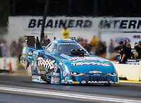 Aug 19, 2016; Brainerd, MN, USA; NHRA funny car driver Courtney Force during qualifying for the Lucas Oil Nationals at Brainerd International Raceway. Mandatory Credit: Mark J. Rebilas-USA TODAY Sports