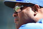 Seattle Mariners'  manager Lloyd McClendon watches the game against the Texas Rangers at SAFECO Field in Seattle on April 10, 2015.  The Mariners came from behind to beat the Rangers 11-10.  Jim Bryant Photo. ©2015. All Rights Reserved.