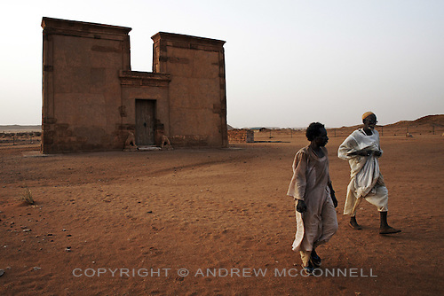 The Lion Temple at Musawwarat es Sufra, Sudan, pictured on Suday, April 1, 2007. The Lion Temple was built in 230BC by King Arnekhamani and is dedicated to the god Apedemak. ..The ancient kingdom of Kush emerged around 2000 BC in the land of Nubia, what is today northern Sudan. At their height the Nubians ruled over ancient Egypt as the 25th Dynasty between 720 BC and 664 BC (known as the Black Pharaohs) and saw their borders reach to edges of Libya and Palestine. The Kushite kings saw themselves as guardians of Egyptian religion and tradition. They centered there kindgom on the Temple of Amun at Napata (modern day Jebel Barkal) and brought back the building of Pyramids in which to inter their kings - there are around 220 pyramids in Sudan, twice the number in Egypt. After Napata was sacked, by a resurgent Egypt, the capital was moved to Meroe where a more indigenous culture developed, Egyptian hieroglyphics made way for a cursive Meroitic script, yet to be deciphered. The Meroitic kingdom eventually fell into decline in the 3rd century AD with the arrival of Christianity.