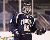 """Jackson Brewer (Trinity - 12) had """"Enjoy"""" on his eyeblack. - The Williams College Ephs defeated the Trinity College Bantams 4-2 (EN) on Tuesday, January 7, 2014, at Fenway Park in Boston, Massachusetts."""