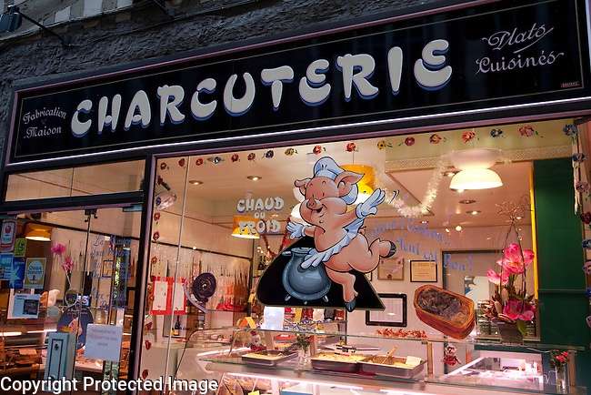 Butcher Shop in Thouret Street in Rouen, Normandy, France