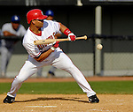11 March 2006: Alex Escobar, outfielder for the Washington Nationals, sets to bunt during a Spring Training game against the Los Angeles Dodgers. The Nationals defeated the Dodgers 2-1 in 10 innings at Space Coast Stadium, in Viera, Florida...Mandatory Photo Credit: Ed Wolfstein.