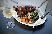 The whole rotisserie chicken at Sandwhich in Chapel Hill, with new potatoes, sauteed spinach, garlic and rosemary. ..