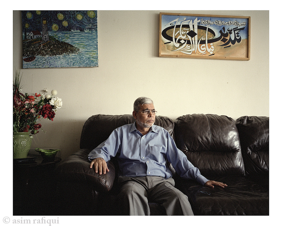 Portrait of Syed Anwar Hashmi, father of Fahd Hashmis a Pakistani American and U.S. Citizen, arrested in London, England on June 6, 2006 based on an indictment from the United States charging him with conspiracy to provide material support to Al-Qaeda.