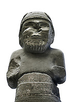 """A Colossal Statue of the Weather God Hadad found near Gerdshin near Sam'al / Zincirli , Turkey. The lower part of the body of the statue has Aramaic text which starts """" I am Panamuwa, the son of QRL, the king of Ja'udi, I have erected this statue of Hadad, at my eternal grave.  Originally the statue would have held lightening rods and an axe. On his round cap are bull horns known as the symbols of divinity. The weather God brought the rains which in the dry areas of Mesopotamia was all important. The inscription goes on to read """" May the soul of Panamuwa eat with Hadad, May the soul of Panamuwa drink with Hadad"""". Basalt 775 BC, Pergamon Museum Berlin, inv no VA 2882."""
